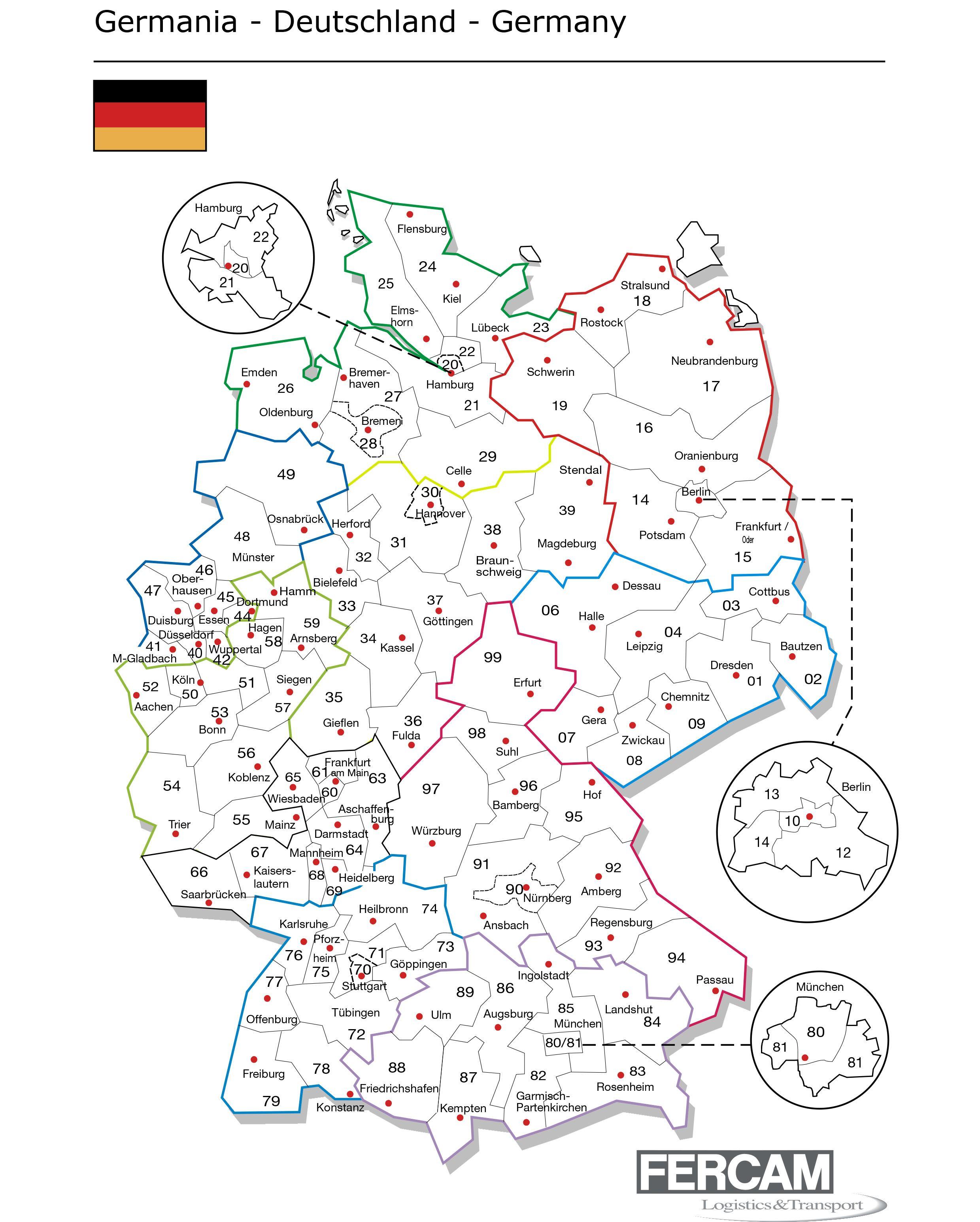 Cartina Cap Germania.Mappe Con Cap